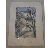 "Aquarelle ""arbres"" signée"