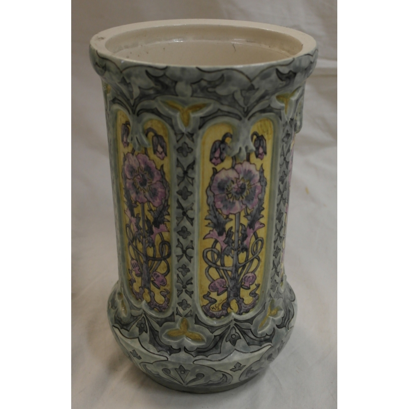 grand vase art nouveau d cor de fleurs sur moinat sa. Black Bedroom Furniture Sets. Home Design Ideas