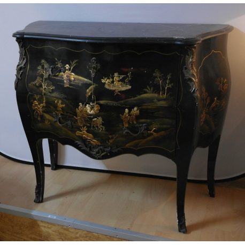 commode laque noir d cor chinois sur moinat sa. Black Bedroom Furniture Sets. Home Design Ideas