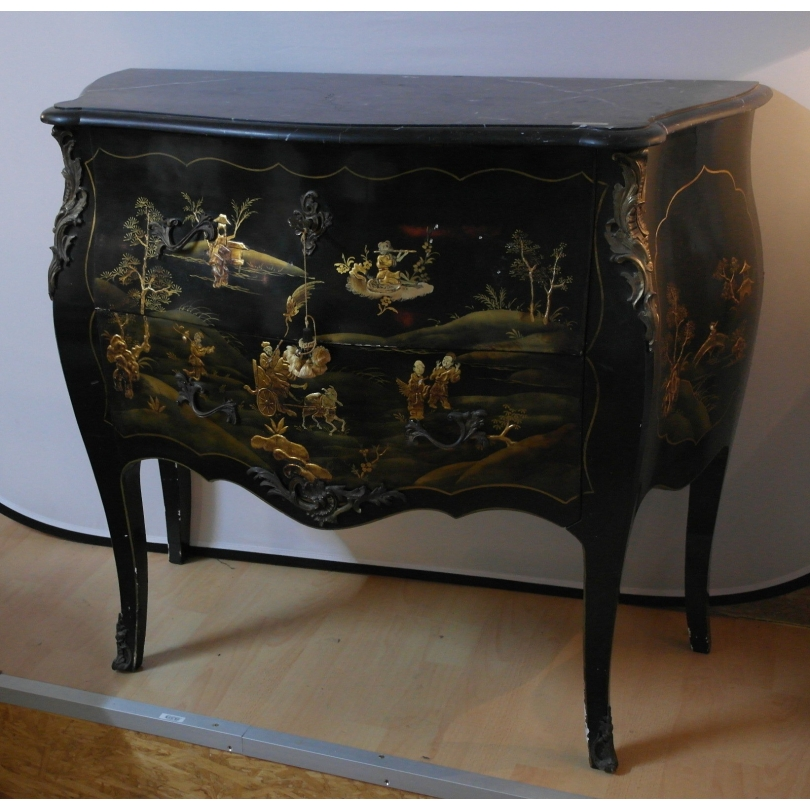 commode laque noir d cor chinois sur moinat sa antiquit s d coration. Black Bedroom Furniture Sets. Home Design Ideas