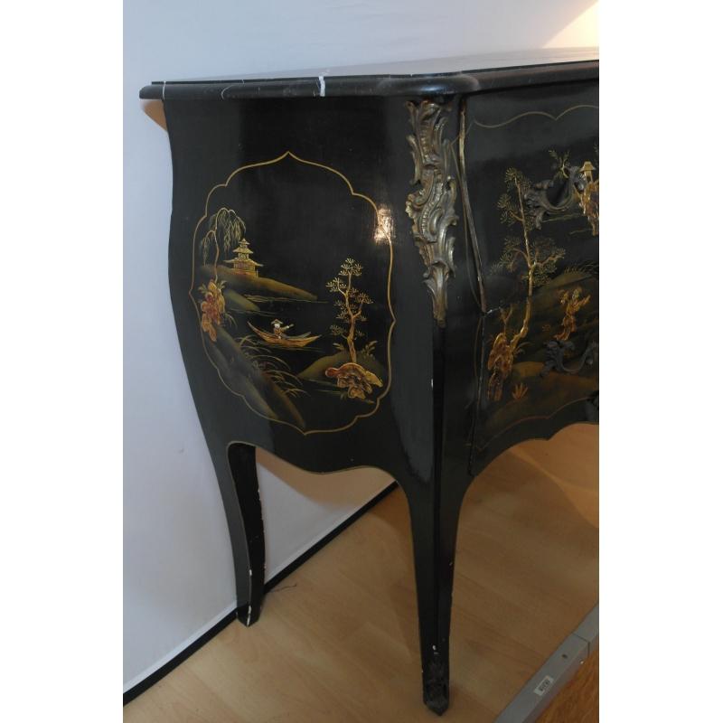 commode laque noir d cor chinois sur moinat sa antiquit s d coration. Black Bedroom Furniture Sets. Home Design Ideas