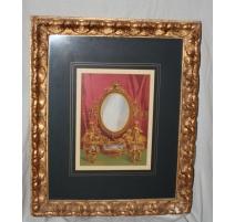 """Reproduction """"Miroir"""" avec cadre doré"""