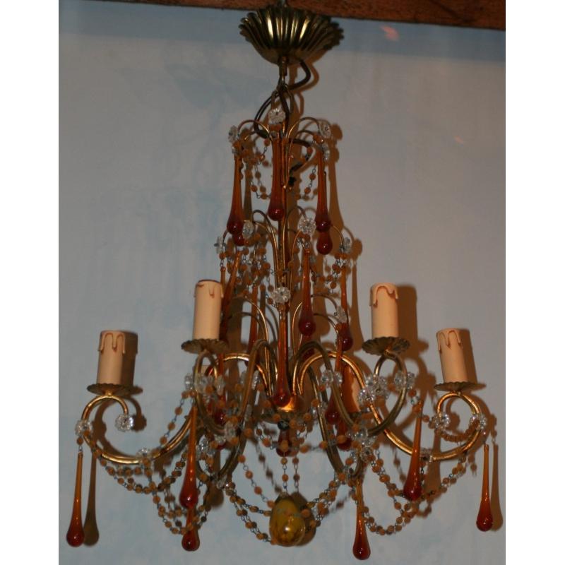 lustre en laiton et cristal ambre 6 sur moinat sa antiquit s d coration. Black Bedroom Furniture Sets. Home Design Ideas
