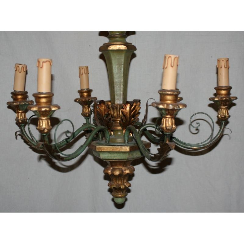 lustre en bois et fer vert et or 6 moinat sa antiquit s d coration. Black Bedroom Furniture Sets. Home Design Ideas