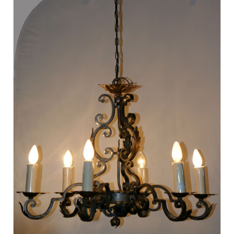 lustre en fer forg 6 feux sur moinat sa antiquit s d coration. Black Bedroom Furniture Sets. Home Design Ideas