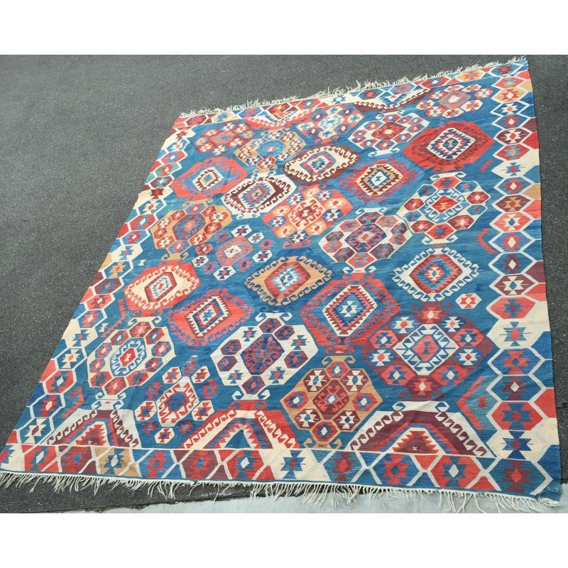 tapis kilim bleu et rouge - Tapis Kilim