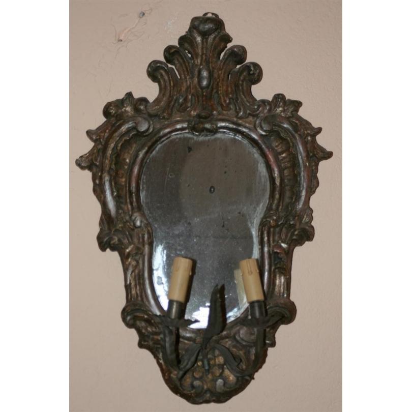 Applique miroir à 2 lumières italienne