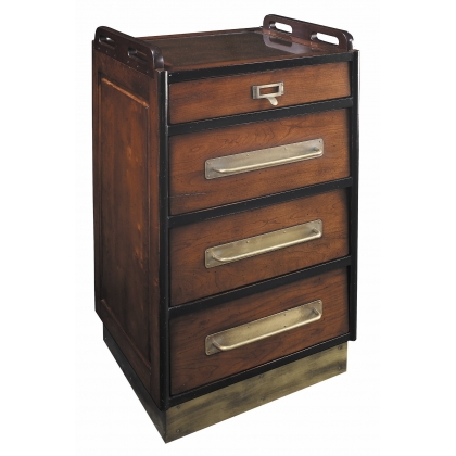 Bedside with 3 drawers, on casters