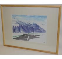 """Aquarelle """"Montagnes"""", signé JC"""