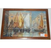 """Aquarelle """"Venise"""" signée CAMOLETTI"""