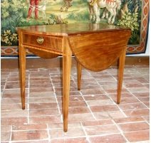 Oval drop-leaf table, inlaid.