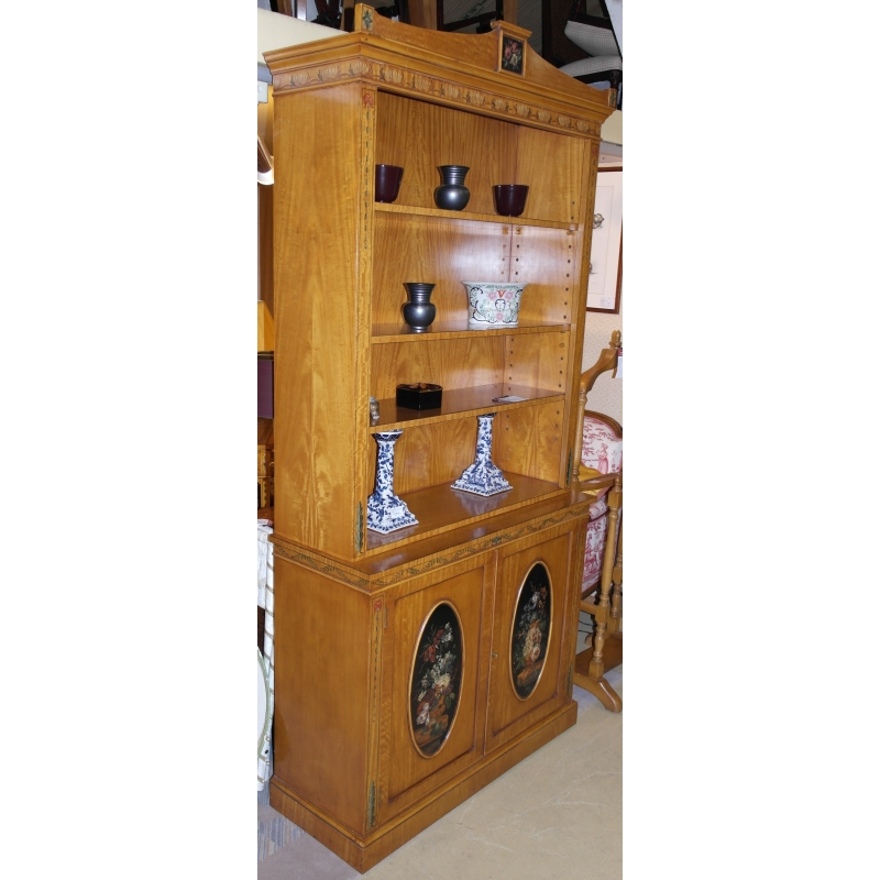 biblioth que anglaise en bois satin sur moinat sa antiquit s d coration. Black Bedroom Furniture Sets. Home Design Ideas