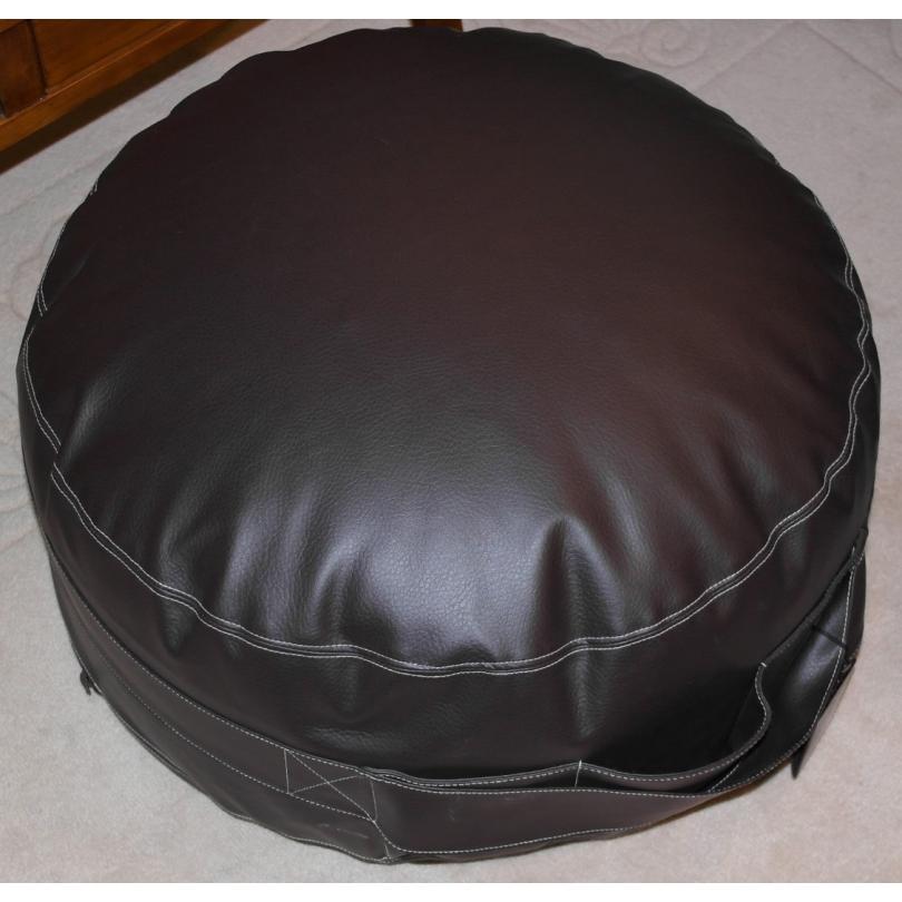 pouf rond berliner ebony en simili sur moinat sa antiquit s d coration. Black Bedroom Furniture Sets. Home Design Ideas