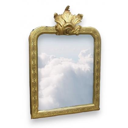 Miroir Régence à feuillage et glace mercure.