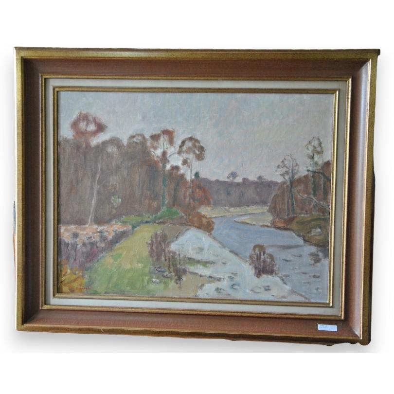 peintures huile sur toile l 39 aubonne sign chinet moinat sa antiquit s d coration. Black Bedroom Furniture Sets. Home Design Ideas