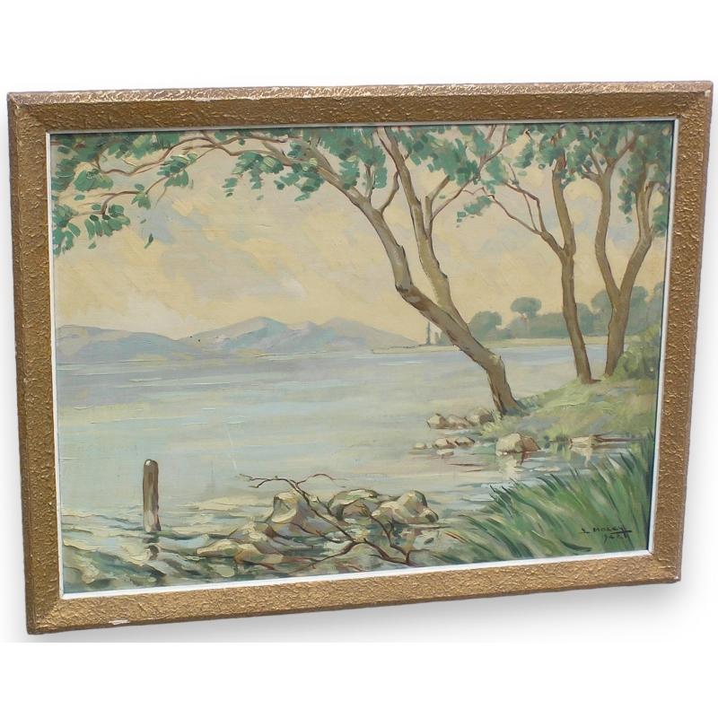 """Peintures   Tableau """"Paysage et bord de lac"""" signé Moinat SA - Antiquités décoration"""