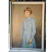 """Pastel """"Jeune fille en robe bleue"""""""