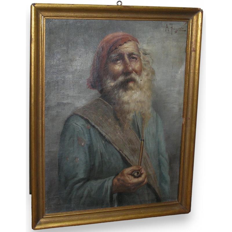 peintures tableau huile sur toile homme avec moinat sa antiquit s d coration. Black Bedroom Furniture Sets. Home Design Ideas