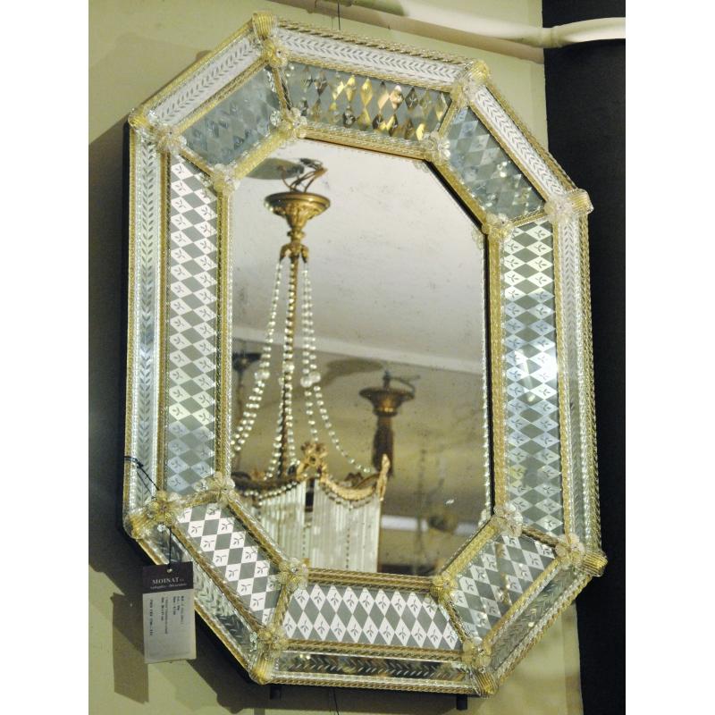 miroir v nitien en verre de murano sur moinat sa antiquit s d coration. Black Bedroom Furniture Sets. Home Design Ideas