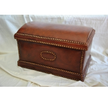 Trunk covered in dark brown leather