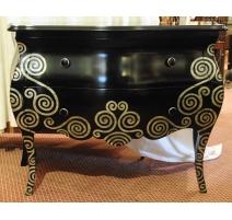 Удобный galbee лакированный черный с серебряный декор