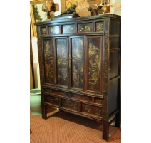 Cabinet Chinese lacquered wood and decor