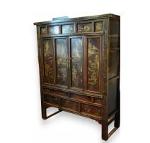 Шкаф Китайский деревянный лакированный декор