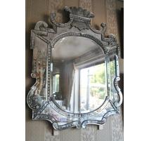 Grand miroir de Murano en verre gravé