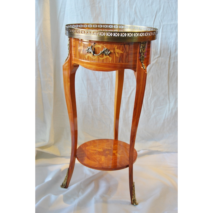 Chevet rond style Louis XV à 1 tiroir,