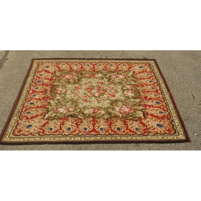 tapis aubusson fond rouge et beige sur moinat sa antiquit s d coration. Black Bedroom Furniture Sets. Home Design Ideas
