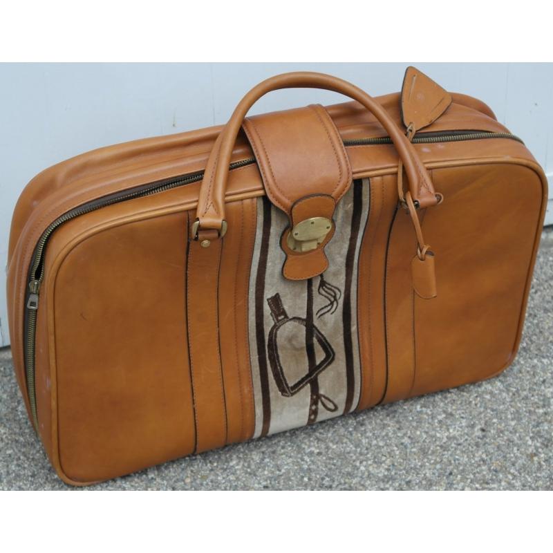 valise en cuir havane avec bandeau en sur moinat sa antiquit s d coration. Black Bedroom Furniture Sets. Home Design Ideas