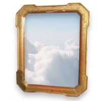 Spiegel mit rahmen aus vergoldetem holz.
