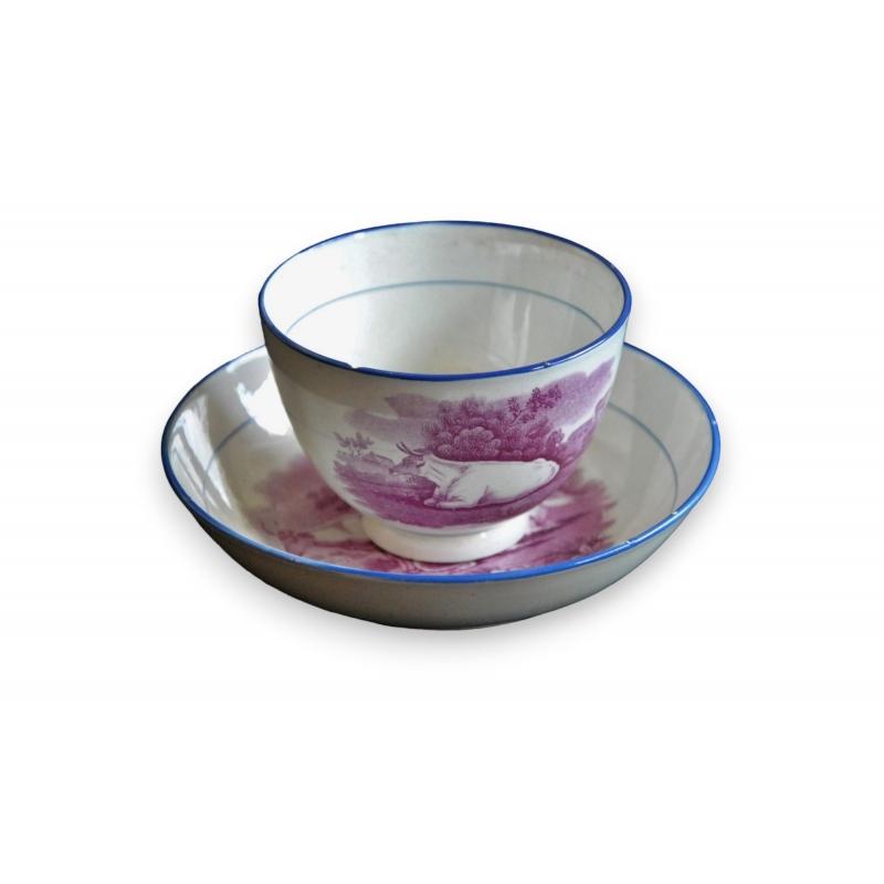 bol et sous tasse en porcelaine vaches sur moinat sa antiquit s d coration. Black Bedroom Furniture Sets. Home Design Ideas