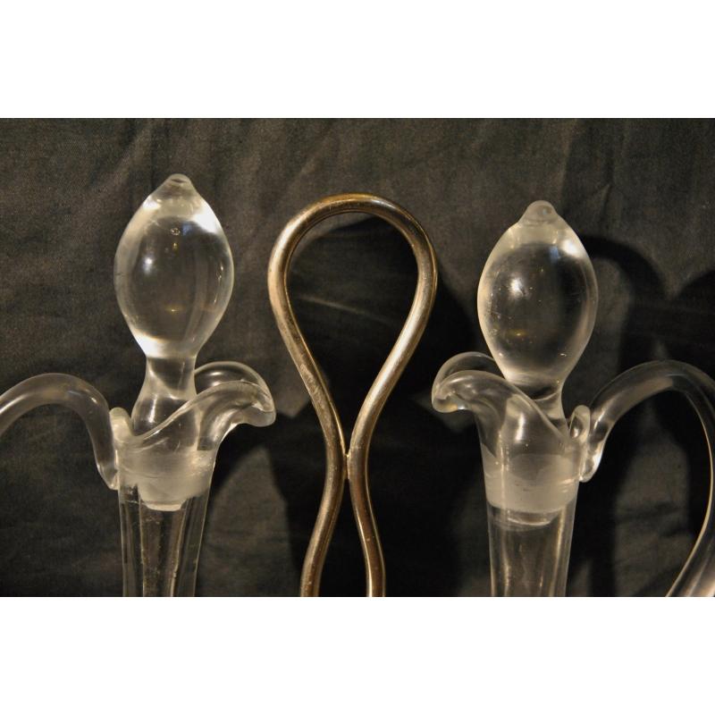 Service huile et vinaigre en verre et sur moinat sa antiquit s d coration - Huile et vinaigre ...