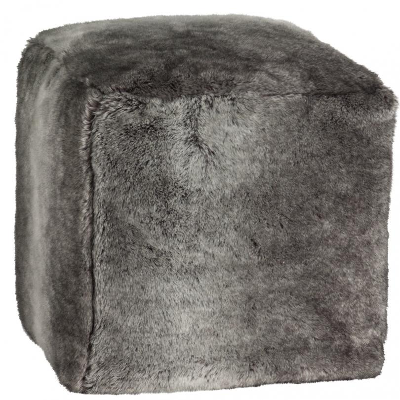Pouf cube en fausse fourrure sur moinat sa antiquit s d coration - Pouf fausse fourrure ...