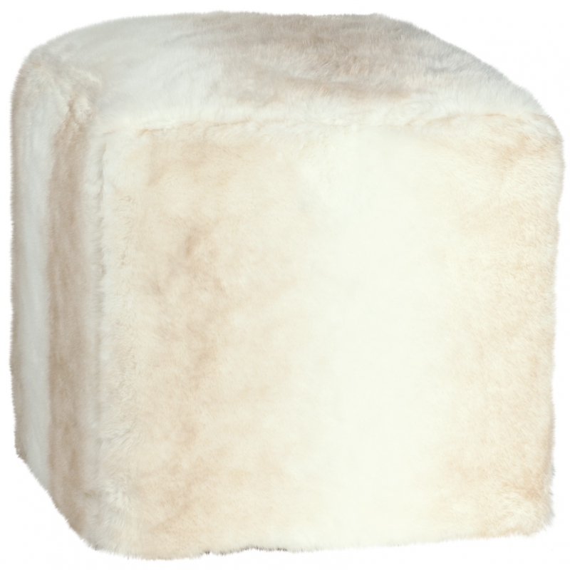 pouf cube en fausse fourrure polar sur moinat sa antiquit s d coration. Black Bedroom Furniture Sets. Home Design Ideas
