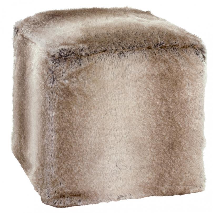 pouf cube en fausse fourrure yukonwolf sur moinat sa antiquit s d coration. Black Bedroom Furniture Sets. Home Design Ideas