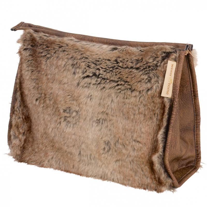 grand sac de beaut en fausse fourrure sur moinat sa antiquit s d coration. Black Bedroom Furniture Sets. Home Design Ideas