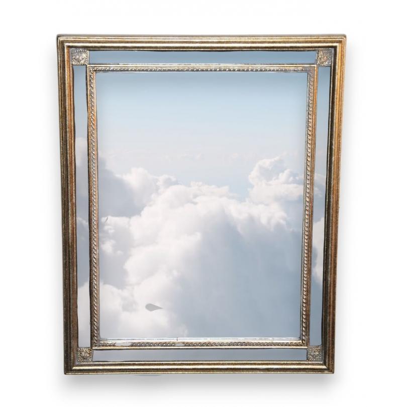 miroir rectangulaire noir et dor sur moinat sa antiquit s d coration. Black Bedroom Furniture Sets. Home Design Ideas