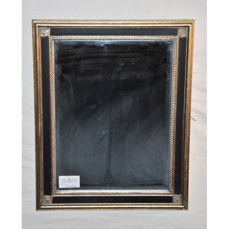 Miroir rectangulaire noir et dor sur moinat sa for Miroir dore rectangulaire