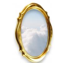 Miroir ovale biseauté en bois doré