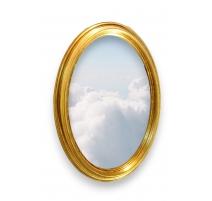 Miroir ovale en bois doré. Suisse. Neuf.