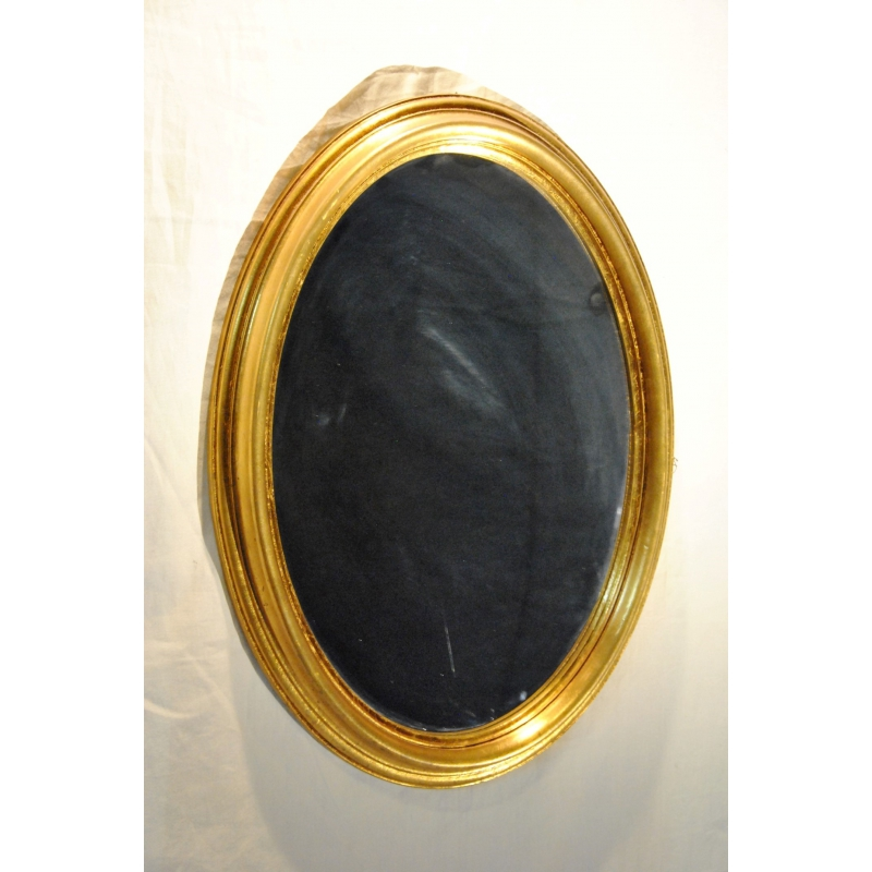 Miroir ovale en bois dor suisse neuf sur moinat sa for Miroir bois ovale
