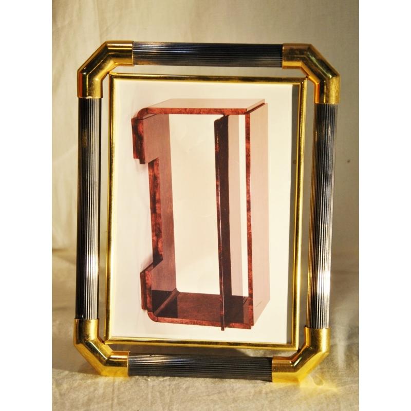 cadre photo en laiton noir et dor sur moinat sa antiquit s d coration. Black Bedroom Furniture Sets. Home Design Ideas