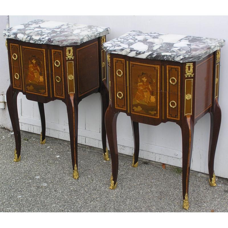 paire de tables de chevets de style transition en sur moinat sa antiquit s d coration. Black Bedroom Furniture Sets. Home Design Ideas