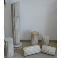Lot of elements of fluted column in