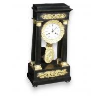 Restoration clock, black lacquer and gilt bronze.
