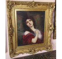 Portrait d'une jeune femme signé Abbey ALTSON