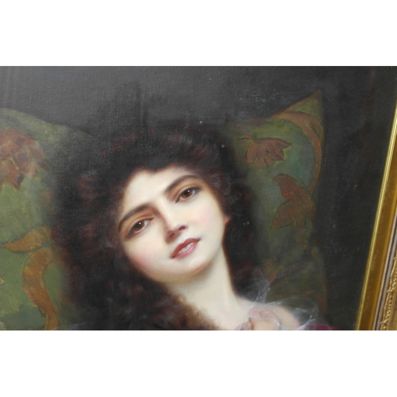 peintures portrait d 39 une jeune femme sign abbey altson moinat sa antiquit s d coration. Black Bedroom Furniture Sets. Home Design Ideas