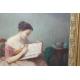 """Tableau """"Femme à la lecture"""" signé Am. GUÉRARD"""